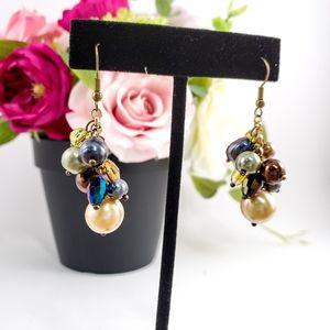 GORGEOUS Artisan Pearl Crystal Dangle Earrings